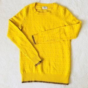Madewell Wallace Sweater Yellow, Brown Polka Dots